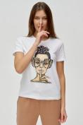 Оптом Женские футболки с принтом белого цвета 3130Bl в Екатеринбурге