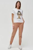 Оптом Женские футболки с принтом белого цвета 3130Bl в Екатеринбурге, фото 2