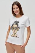 Оптом Женские футболки с принтом белого цвета 3130Bl в Екатеринбурге, фото 4