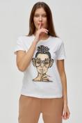 Оптом Женские футболки с принтом белого цвета 3130Bl в Екатеринбурге, фото 5
