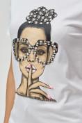 Оптом Женские футболки с принтом белого цвета 3130Bl в Екатеринбурге, фото 7