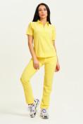Оптом Спортивная футболка поло женская желтого цвета 33412J, фото 8