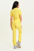Оптом Спортивная футболка поло женская желтого цвета 33412J, фото 10