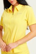 Оптом Спортивная футболка поло женская желтого цвета 33412J, фото 2