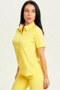 Оптом Спортивная футболка поло женская желтого цвета 33412J, фото 3