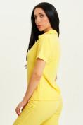 Оптом Спортивная футболка поло женская желтого цвета 33412J, фото 4