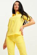 Оптом Спортивная футболка поло женская желтого цвета 33412J, фото 5