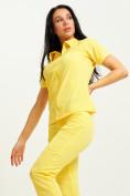 Оптом Спортивная футболка поло женская желтого цвета 33412J, фото 7