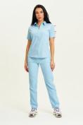 Оптом Спортивная футболка поло женская голубого цвета 33412Gl в Екатеринбурге, фото 9