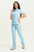 Оптом Спортивная футболка поло женская голубого цвета 33412Gl в Екатеринбурге, фото 8