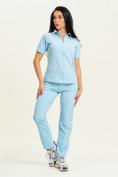Оптом Спортивная футболка поло женская голубого цвета 33412Gl в Екатеринбурге, фото 10