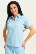 Оптом Спортивная футболка поло женская голубого цвета 33412Gl в Екатеринбурге