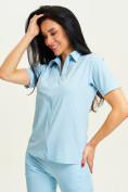 Оптом Спортивная футболка поло женская голубого цвета 33412Gl в Екатеринбурге, фото 2