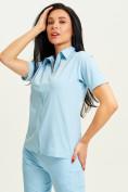 Оптом Спортивная футболка поло женская голубого цвета 33412Gl в Екатеринбурге, фото 3
