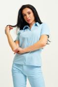 Оптом Спортивная футболка поло женская голубого цвета 33412Gl в Екатеринбурге, фото 4