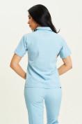 Оптом Спортивная футболка поло женская голубого цвета 33412Gl в Екатеринбурге, фото 5