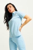 Оптом Спортивная футболка поло женская голубого цвета 33412Gl в Екатеринбурге, фото 6