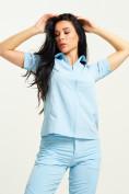 Оптом Спортивная футболка поло женская голубого цвета 33412Gl в Екатеринбурге, фото 7