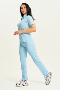 Оптом Спортивные брюки Valianly женские голубого цвета 33419Gl, фото 8