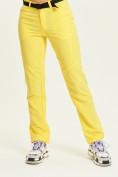 Оптом Спортивные брюки Valianly женские желтого цвета 33419J в Екатеринбурге