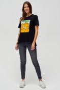 Оптом Женские футболки с принтом черного цвета 34001Ch в Екатеринбурге, фото 2