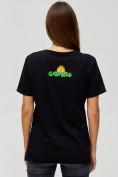 Оптом Женские футболки с принтом черного цвета 34001Ch в Екатеринбурге, фото 5