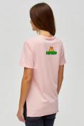 Оптом Женские футболки с принтом розового цвета 34001R в Екатеринбурге, фото 5
