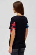 Оптом Женские футболки с принтом черного цвета 34002Ch в Екатеринбурге, фото 5