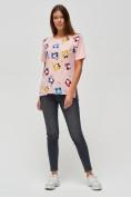 Оптом Женские футболки с принтом розового цвета 34004R в Екатеринбурге
