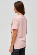 Оптом Женские футболки с принтом розового цвета 34004R в Екатеринбурге, фото 5