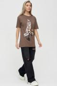 Оптом Женская туника с принтом коричневого цвета 4296K, фото 2