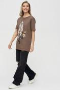 Оптом Женская туника с принтом коричневого цвета 4296K, фото 3