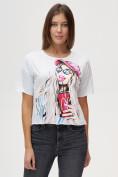 Оптом Топ футболка женская белого цвета 4320Bl
