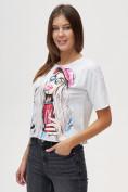 Оптом Топ футболка женская белого цвета 4320Bl, фото 5