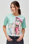 Оптом Топ футболка женская салатового цвета 4320Sl