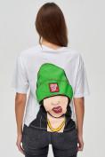 Оптом Женские футболки с принтом белого цвета 50003Bl в Екатеринбурге, фото 6