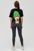 Оптом Женские футболки с принтом черного цвета 50003Ch в Екатеринбурге, фото 4