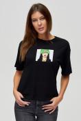 Оптом Женские футболки с принтом черного цвета 50003Ch в Екатеринбурге