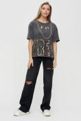 Оптом Женские футболки с надписями серого цвета 65015Sr в Екатеринбурге, фото 3