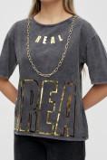 Оптом Женские футболки с надписями серого цвета 65015Sr в Екатеринбурге, фото 10