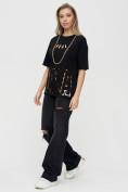 Оптом Женские футболки с надписями черного цвета 65015Ch в Екатеринбурге, фото 3