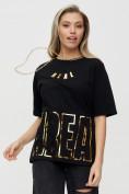 Оптом Женские футболки с надписями черного цвета 65015Ch в Екатеринбурге, фото 6