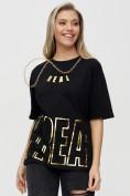 Оптом Женские футболки с надписями черного цвета 65015Ch в Екатеринбурге, фото 7