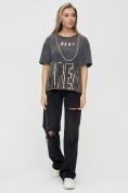 Оптом Женские футболки с надписями серого цвета 65015Sr в Екатеринбурге, фото 2