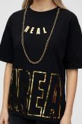 Оптом Женские футболки с надписями черного цвета 65015Ch в Екатеринбурге, фото 9
