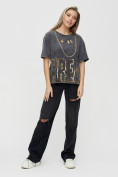 Оптом Женские футболки с надписями серого цвета 65015Sr в Екатеринбурге, фото 4