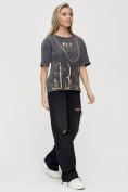 Оптом Женские футболки с надписями серого цвета 65015Sr в Екатеринбурге, фото 5