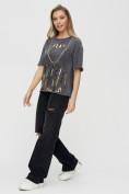 Оптом Женские футболки с надписями серого цвета 65015Sr в Екатеринбурге, фото 6