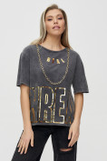 Оптом Женские футболки с надписями серого цвета 65015Sr в Екатеринбурге, фото 8