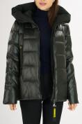 Оптом Куртка зимняя big size болотного цвета 72117Bt в Екатеринбурге, фото 14